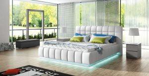 Łoże tapicerowane do sypialni Prato 180 oświetlenie LED www.meble-diana.pl